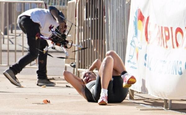Drone fails drone attacks athlete