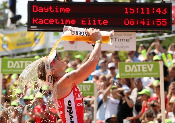 ROTH, GERMANY - JULY 14:  Caroline Steffen of Switzerland celebrates winning the womens event during the Challenge Roth Triathlon on July 14, 2013 in Roth, Germany. (Photo by Stephen Pond/Getty Images)