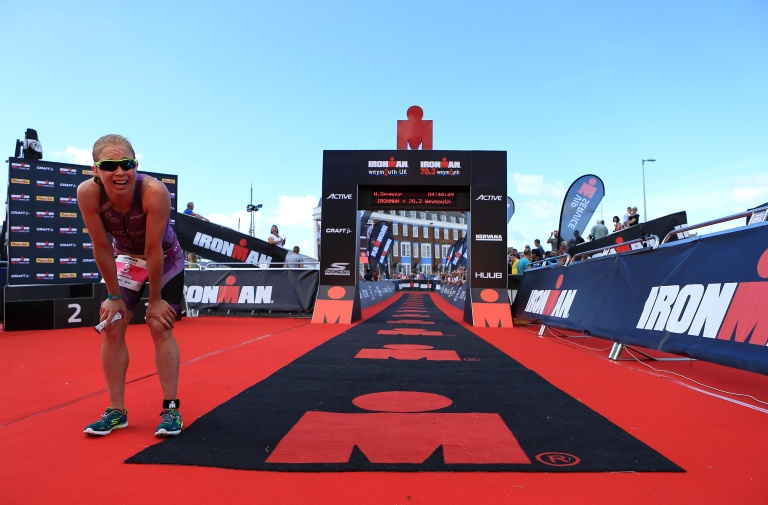 WEYMOUTH, ENGLAND - SEPTEMBER 11:  Second place Natalie Seymour of Great Britain finishes during Ironman Weymouth on September 11, 2016 in Weymouth, England. (Photo by Stephen Pond/Getty Images) *** Local Caption *** Natalie Seymour